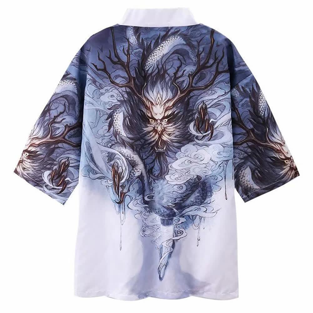 Men Women Kimono Dragon Claw Print Cardigan Robe Loose 3/4 Sleeve Thin Summer Garment Coat Dragon