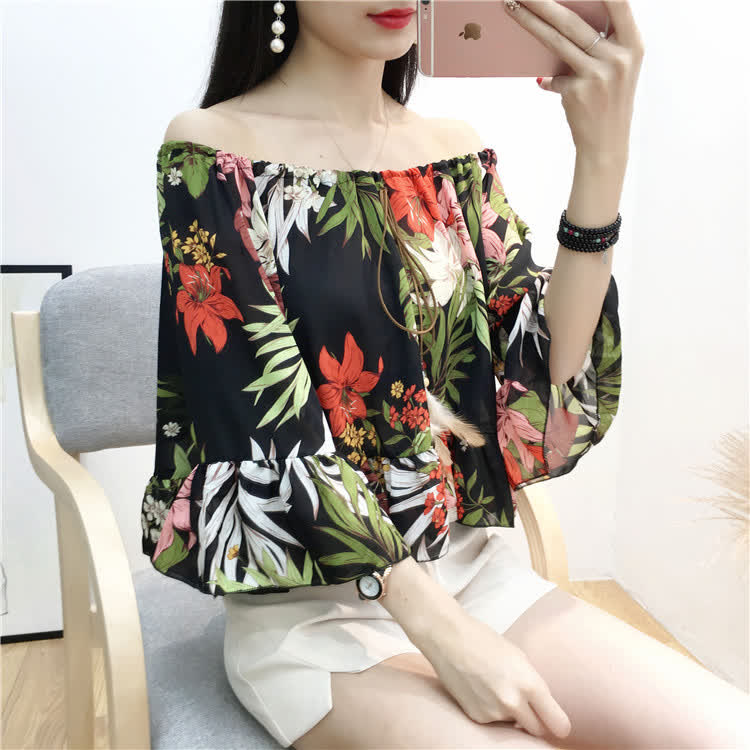 Women Sexy Off Shoulder Chiffon T -Shirt Floral Printing Madarin Sleeves Tops