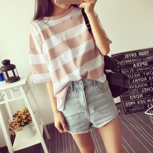 Woman Summer Stripe Short Sleeves Loose Lady Tops   T-shirt Light blue_2XL
