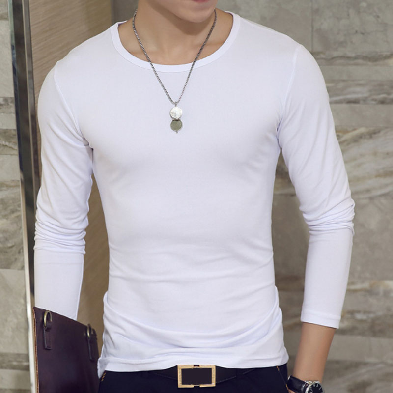 Fashion Men Long Sleeve Shirt Soft Slim T-shirt Concise Solid Color Tops  white round neck