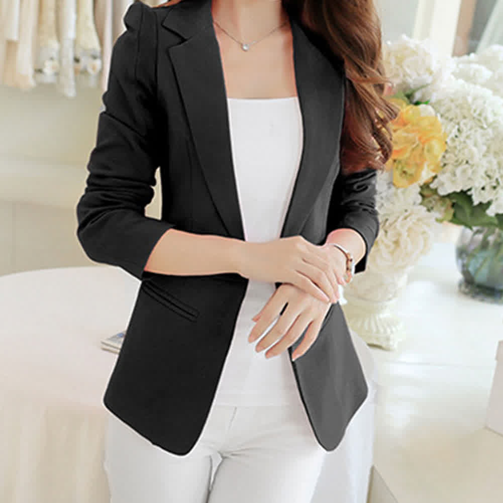 Women Solid Color Slim Long Sleeve Jacket
