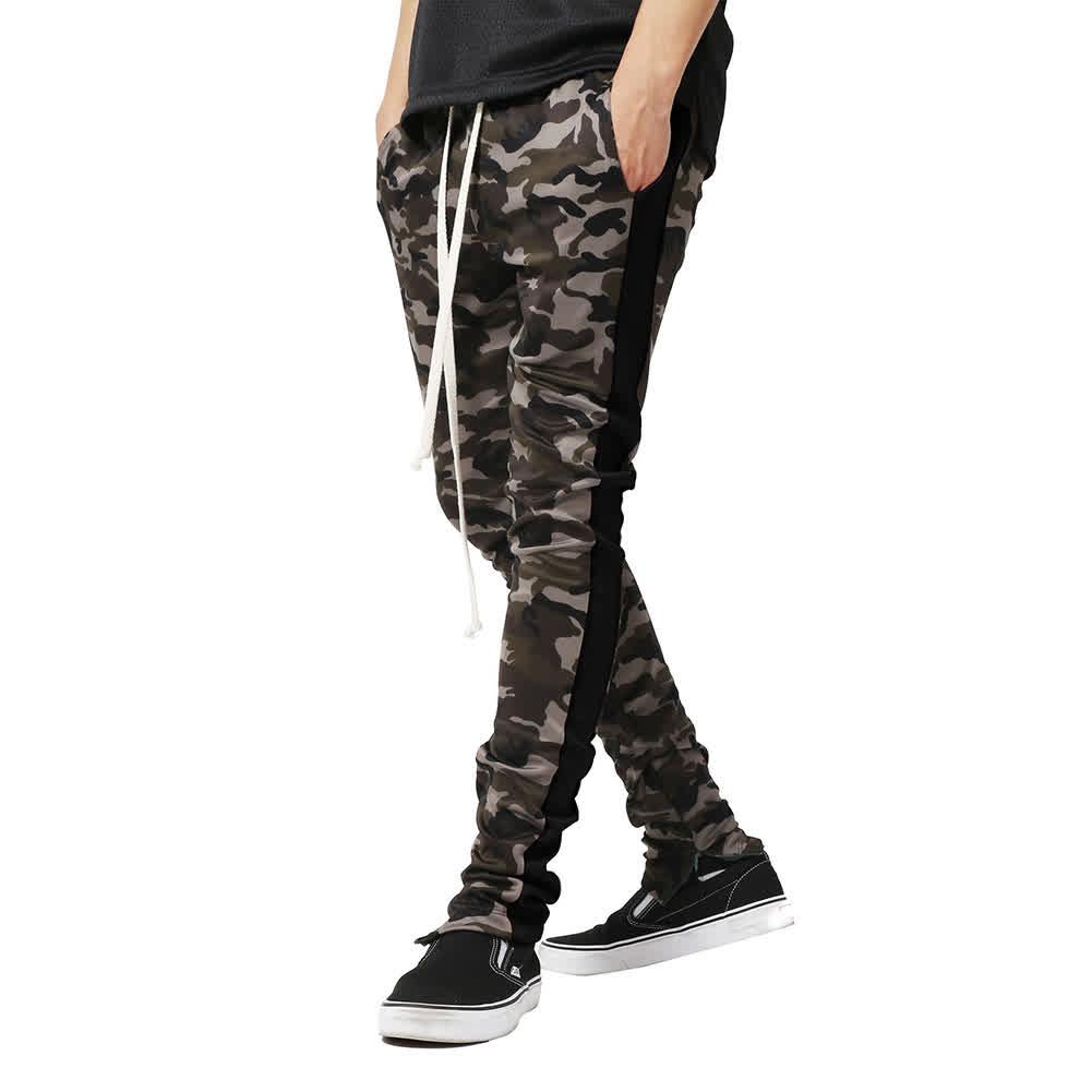 Men Casual Slim Camouflage Printing Splice Sports Pants