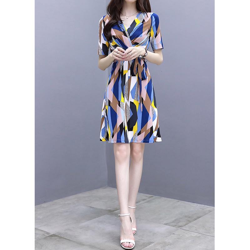 Women Summer Fashion Printing Tight Waist Short Sleeve Lacing Beach Dress blue_XL