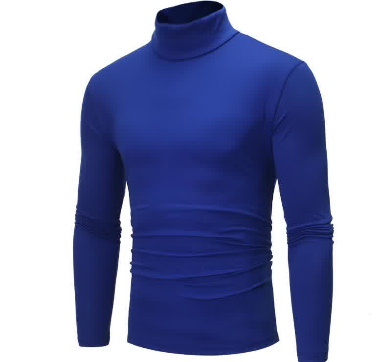 Men High Collar Pullovers Solid Color Long Sleeve High Collar All-matching Tops