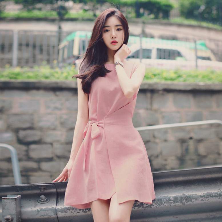 Woman Sweet Lace-up Pure Color Loose  Irregular Sleeveless A-line Dress
