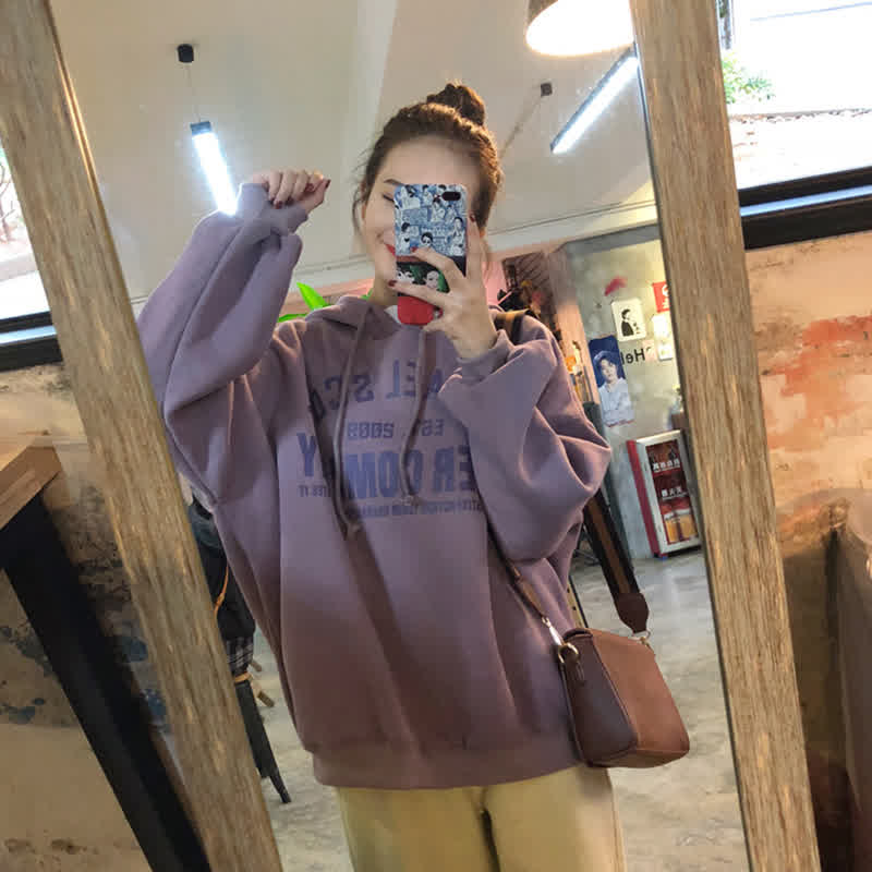 Lady Thicken Loose Hoodie Sweatshirt Printing Letter Autumn Winter Casual Pullover Tops