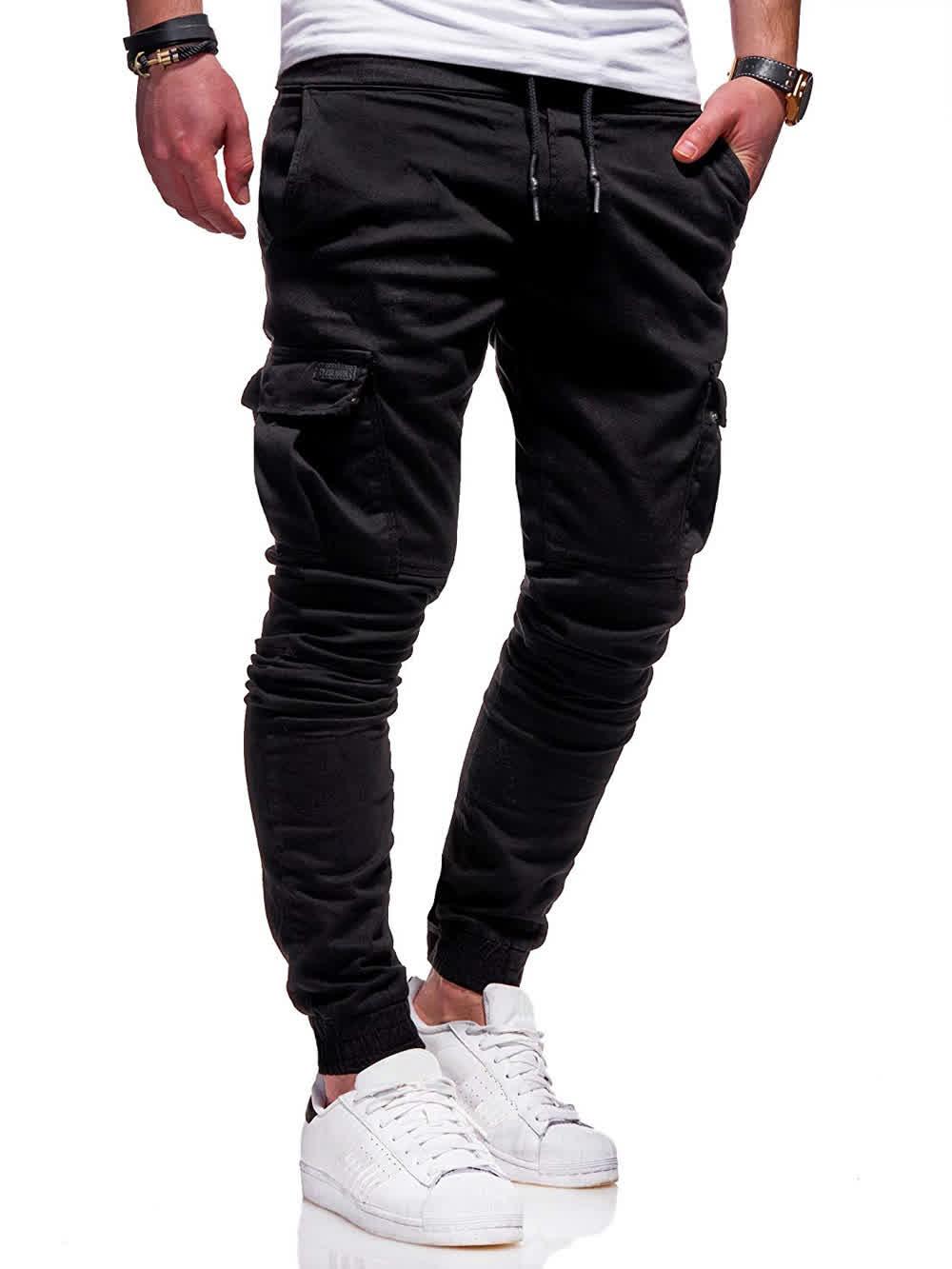 Men Solid Color Slacks Sports Pants