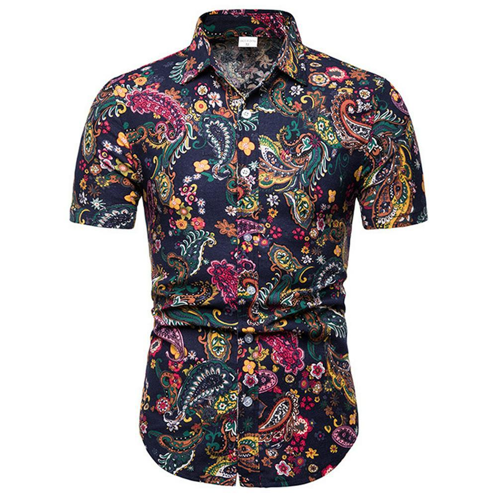 Men Summer Fashion Shirts Short Sleeve Pattern Printing Slim Tops Color_L