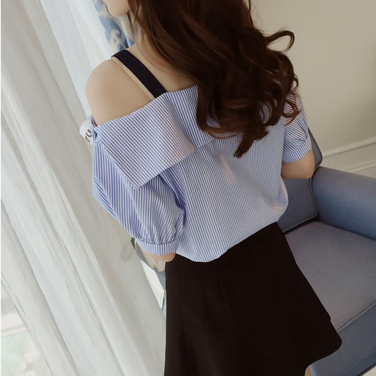 Women All Match Striped Printing Single Shoulder Short Sleeve T-shirt