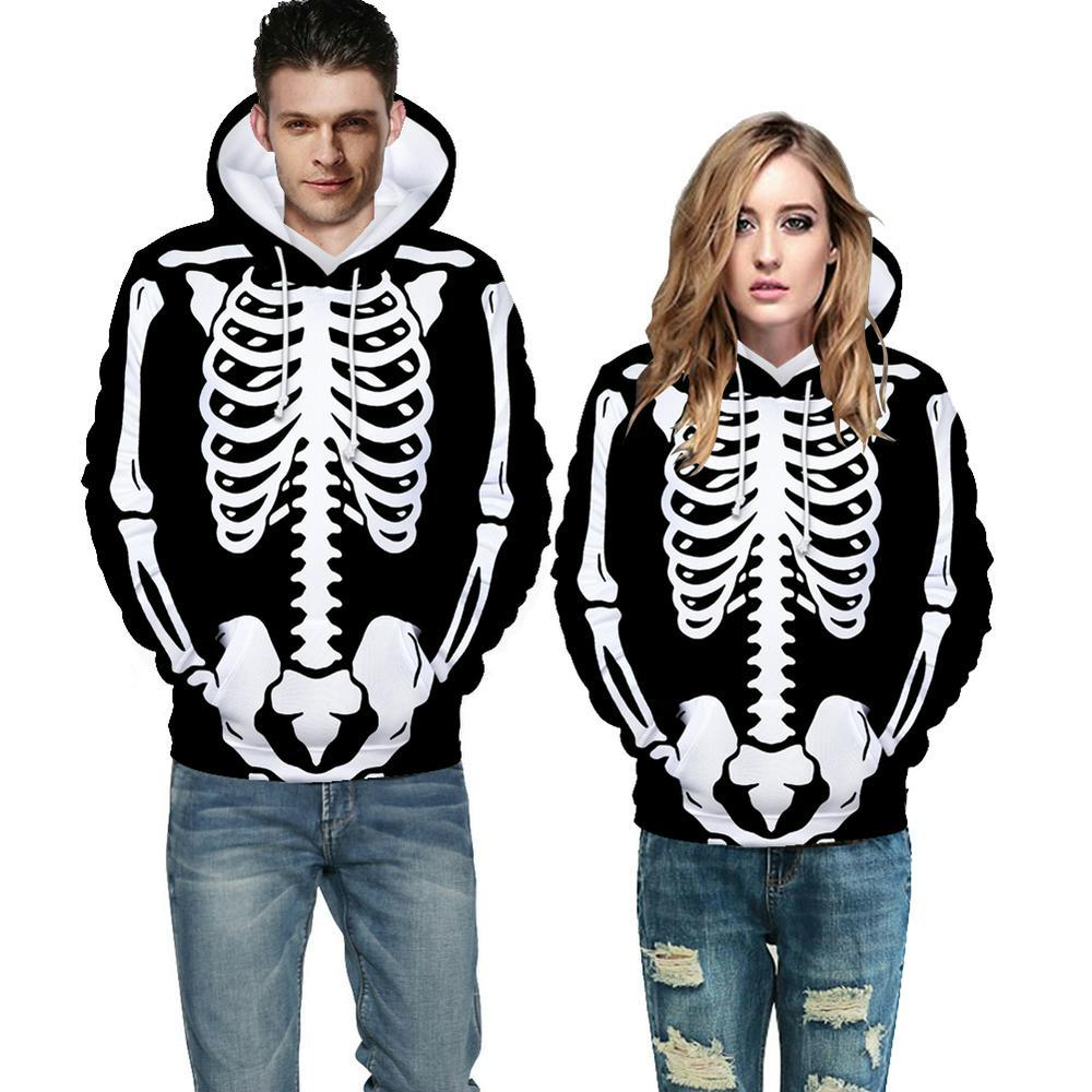 Skeleton Hoodie Plush Sweatshirt Long Sleeve Loose Printing Pullover