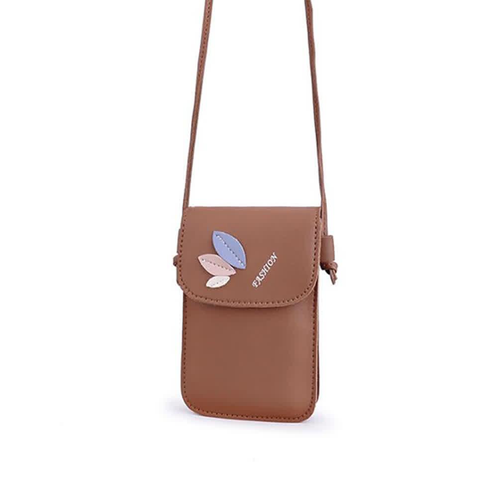 Women Mini Cellphone Bag Satchel Leaf Single Strap Cross-body PU Leather Fashion Bag brown