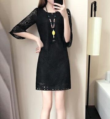Women 3/4 Sleeve Lace Elegant Dress