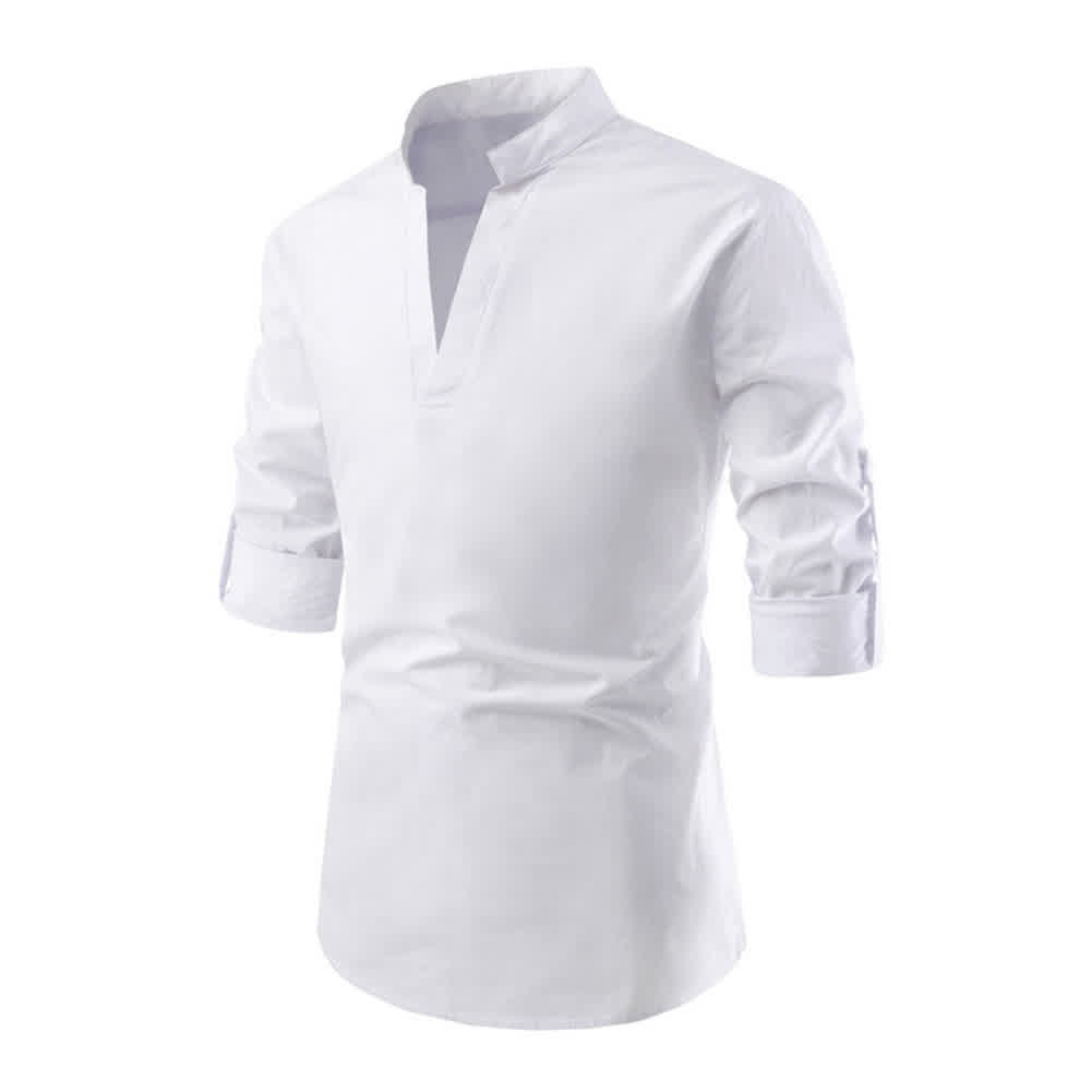 Men Solid Color Pullover Stand Collar Long Sleeve ...