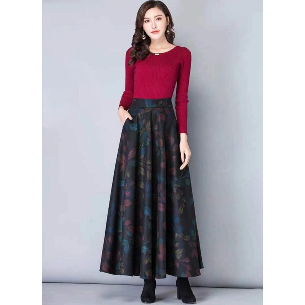 Women Lady Fashion Simple Design Autumn Winter Woolen Plaid A-line Skirt