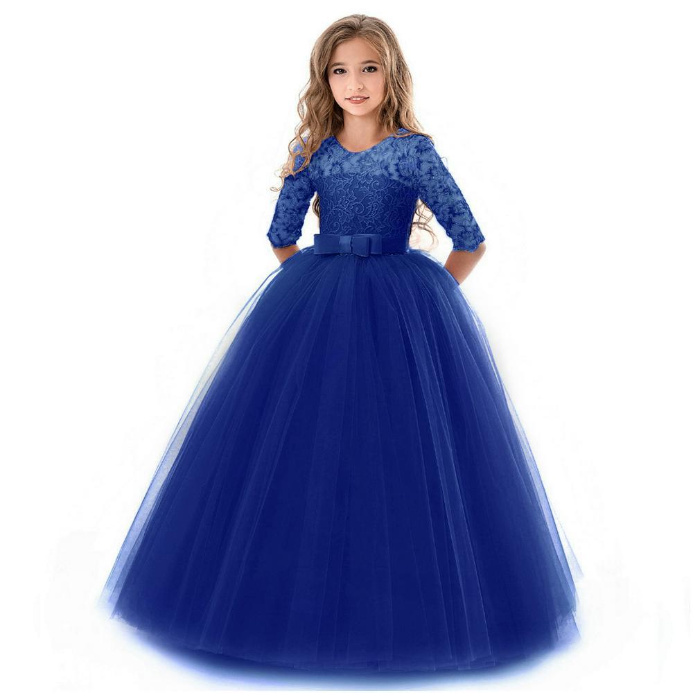 Girls Long Sleeve Lace Princess Dress