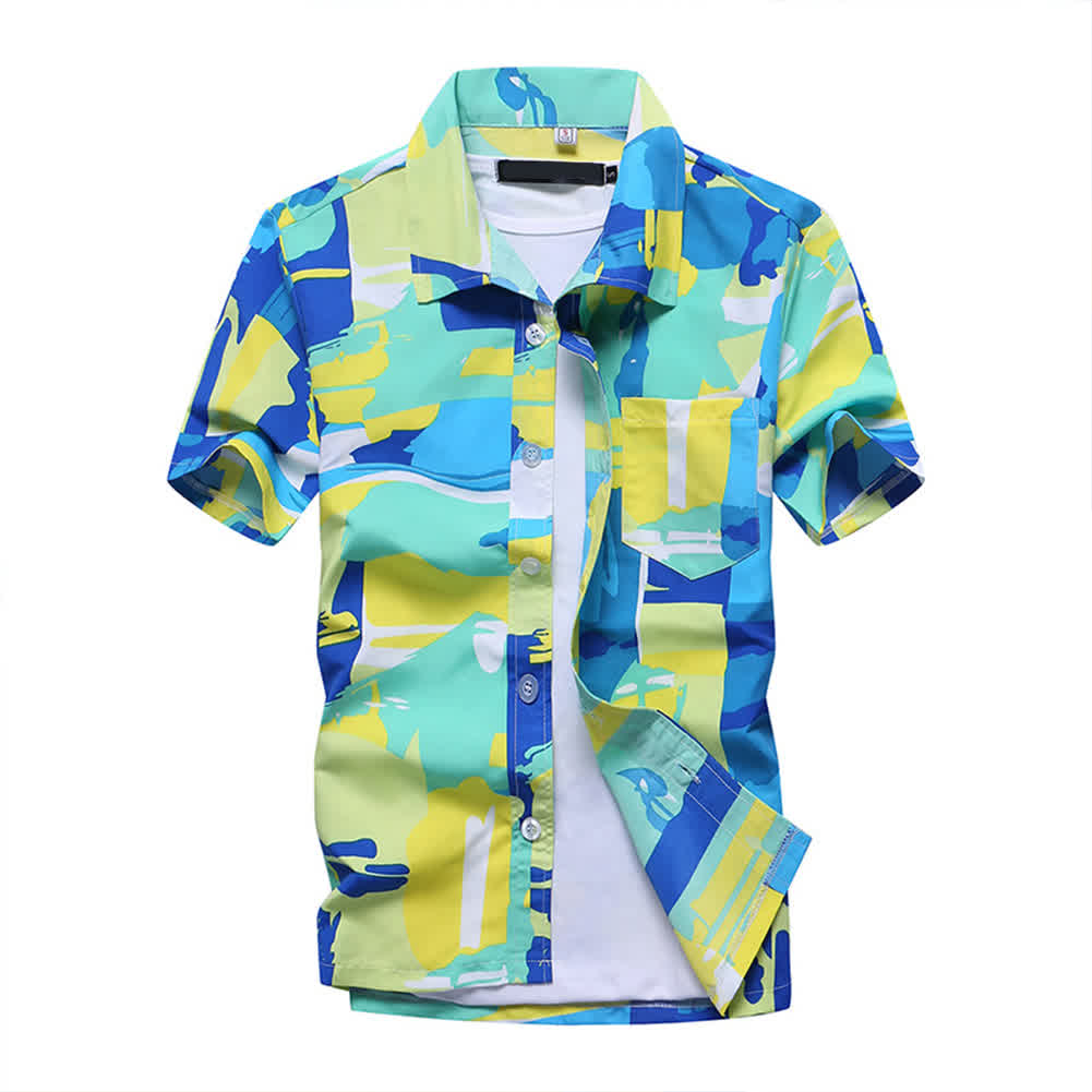 Men Short Sleeve Printing Quick Dry Loose Beach Sh...