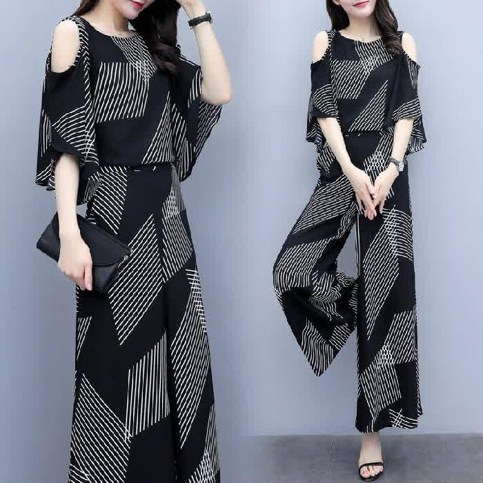 Women Fashion Summer Korean Loose Thin Off-shoulde...