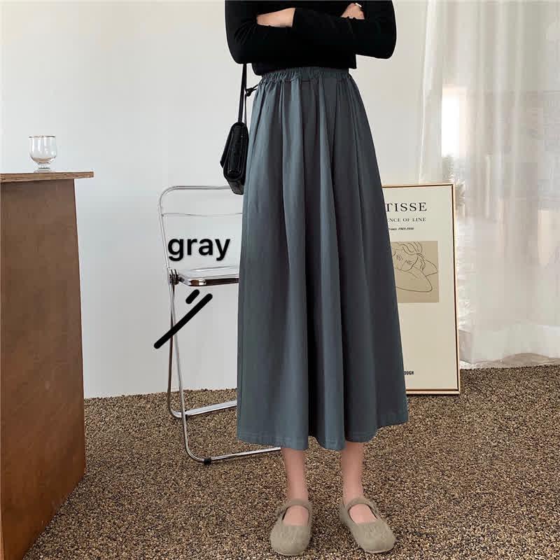Women A-line Pleated Skirt High Waist Solid Color Spring Summer Midi Skirt black