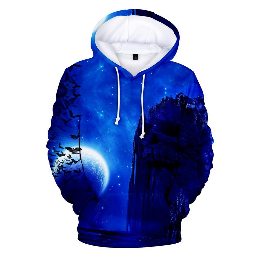 Men Women  Night Digital Printing Hooded Sweatshirts for