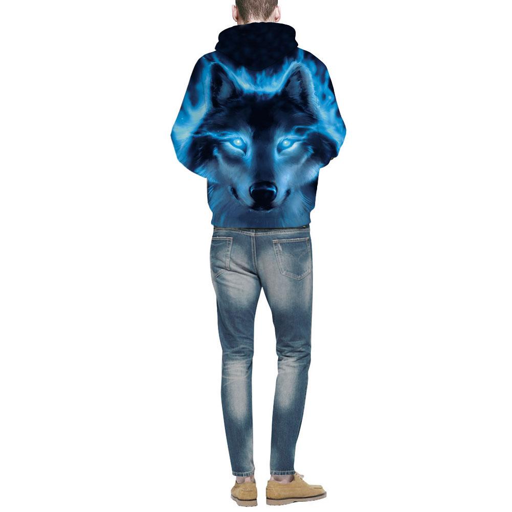 Men/Women Fashion 3D Wolf Pattern Hoodie Fashionable Hip Hop Hooded Pullover Sweatshirts