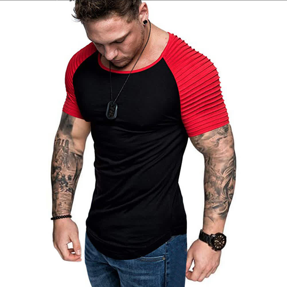 Men Casual Sports T-shirt Thin Slim Fashion Matchi...