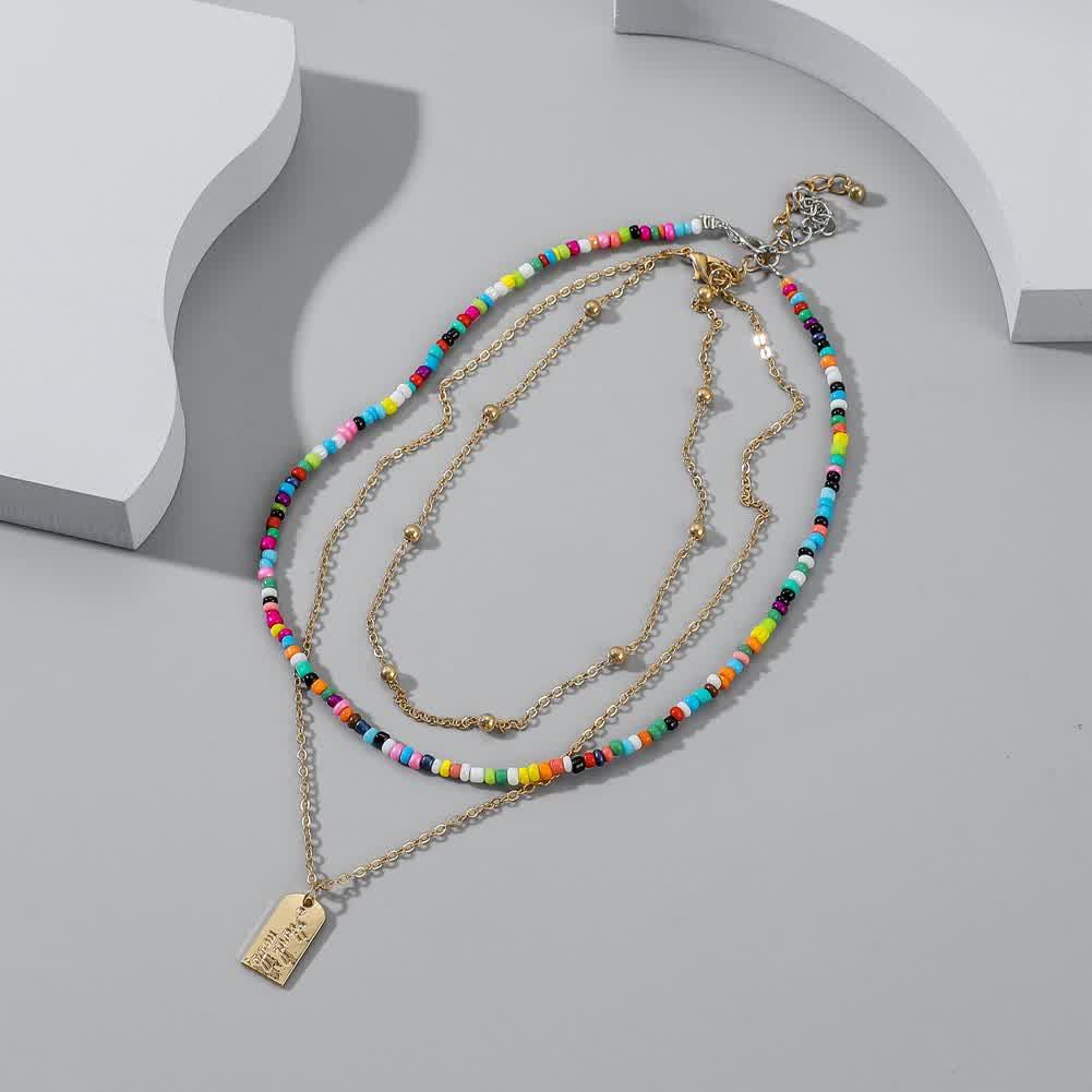 2 Pcs/set Women's Necklace Bohemian Style Multi-layer Color Seedbead Metal Pendant Necklace Golden
