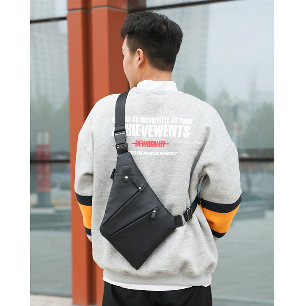 Men Chest Bag USB Port Anti-theft PU Leather Single Shoulder Cross-body Casual Satchel black