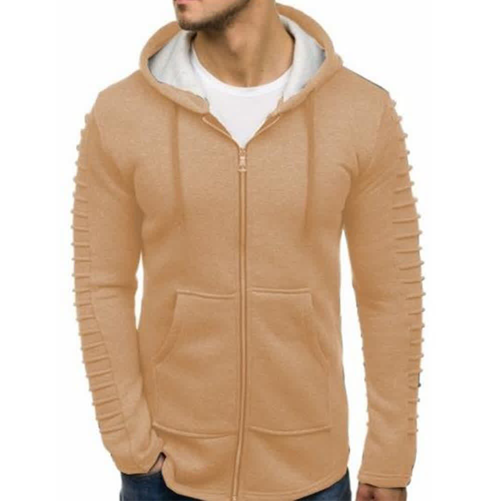 Men Strip Sweater Long Sleeve Casual Hooded Hoodie Outdoor Sports