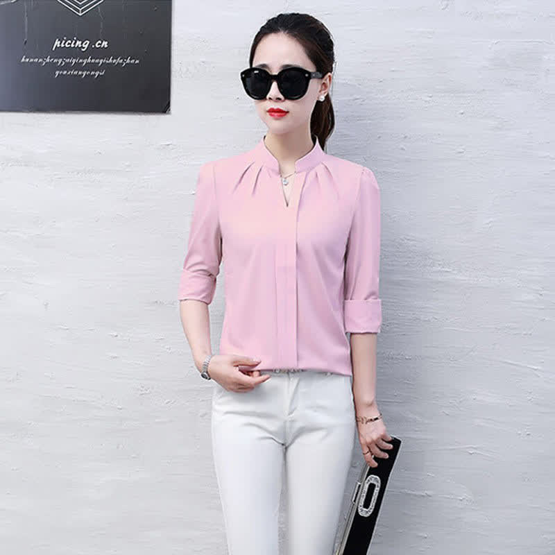 Lady Casual Long Sleeve Chiffon Shirt