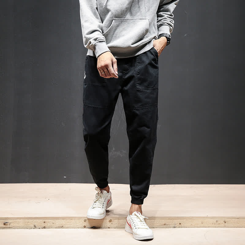 Men Fashion Casual Loose Cotton Casual Ankle Banded Pants Trousers