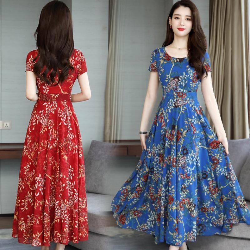 Women Flower Printing Short Sleeve Dress