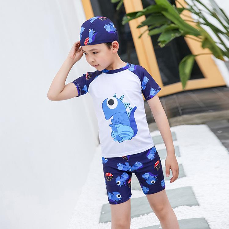 Boy Cartoon Dinosaur Pattern Swimsuit