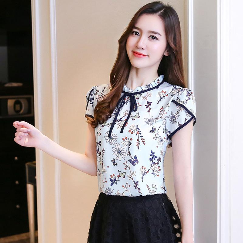 Women Lacing Floral Short Sleeve  Shirt