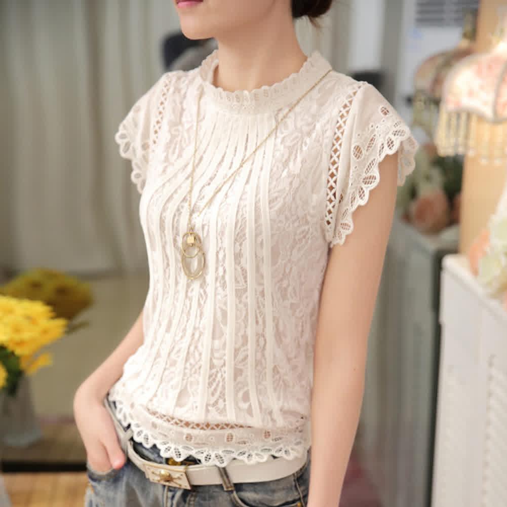 Ladies Loose Crochet Lace Shirt