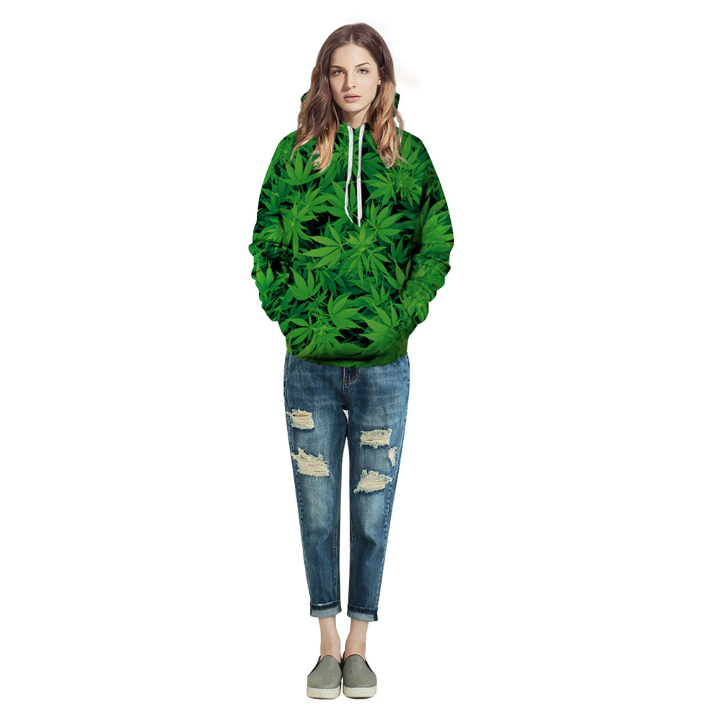 3D  Green  Leave  Printing Hooded Sweatshirts for