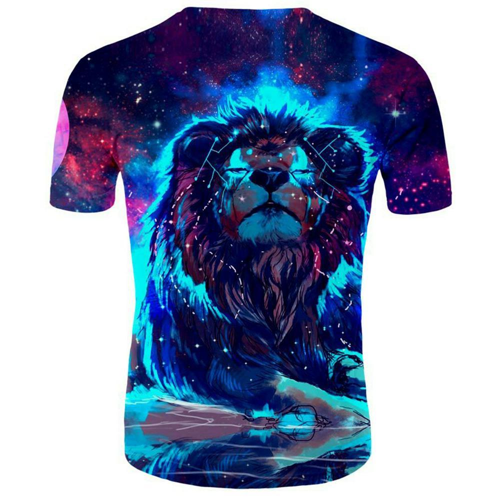 Fashion Summer 3D Animal Lion Printing Short Sleeve T-shirt for Men Women