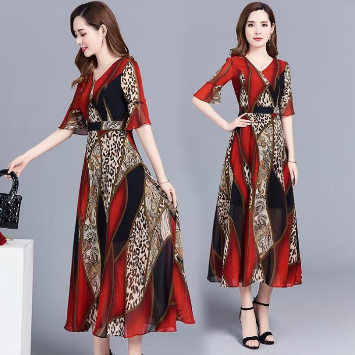 Women Elegant Print Knee-length Leopard Print Fashion Dress