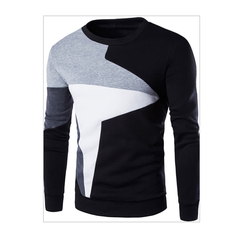 Men Fashion Chic Hit Color Long Sleeve Sweater Simple Casual Sweatshirt Pullover light