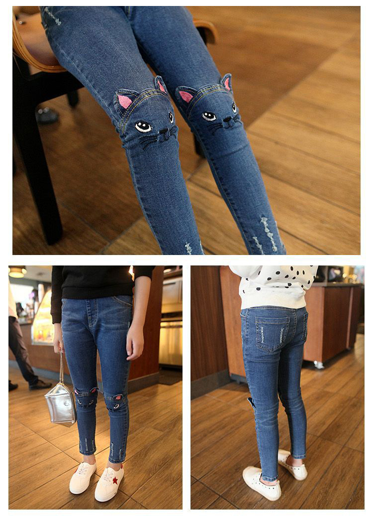 Girl Embroidered Kitten Cute Jeans