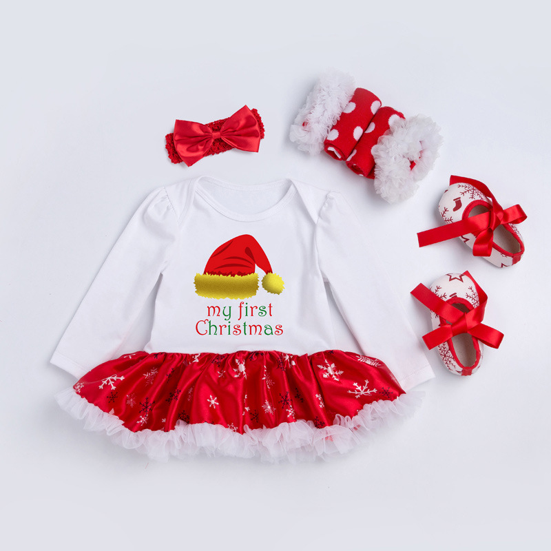 Christmas Baby Jumpsuit Dress Set
