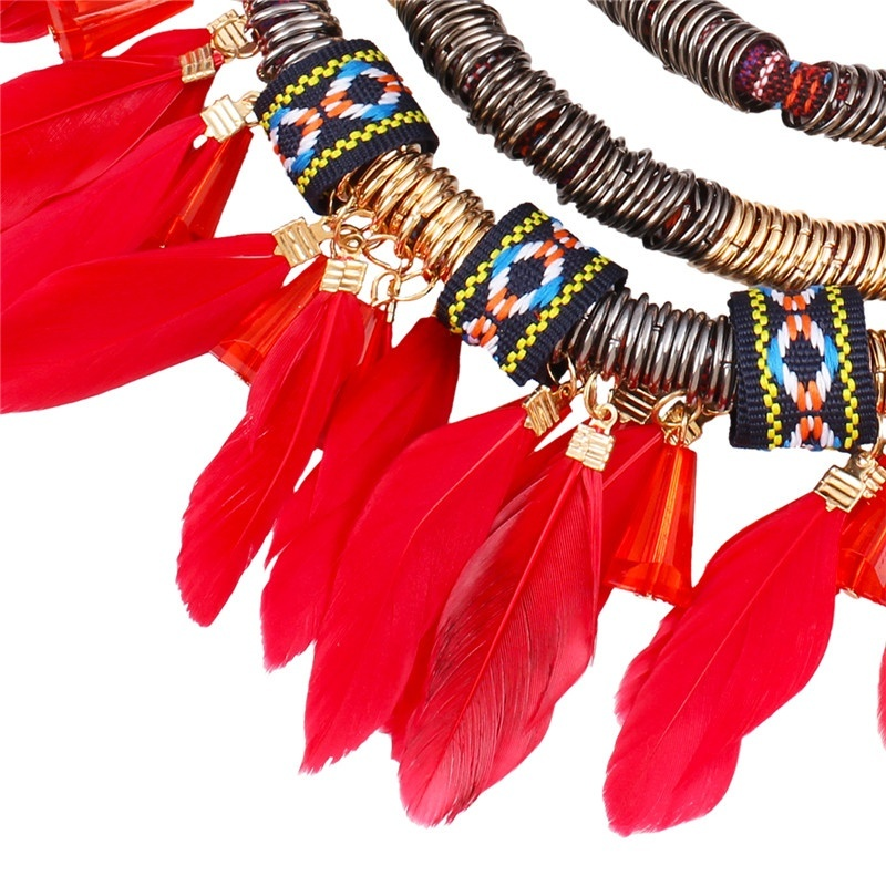Feather Pendant Necklace Earring Jewelry Set