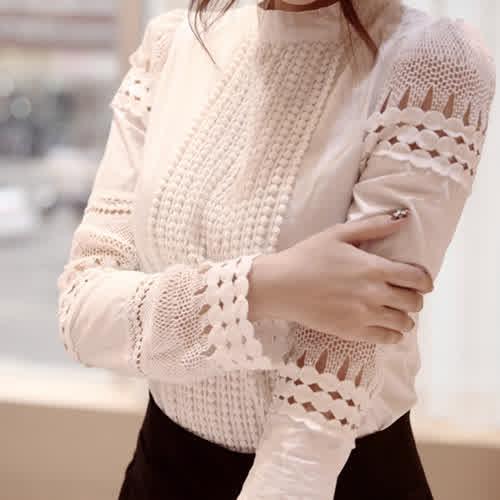Women Blouses Long-sleeved tanding Collar Top