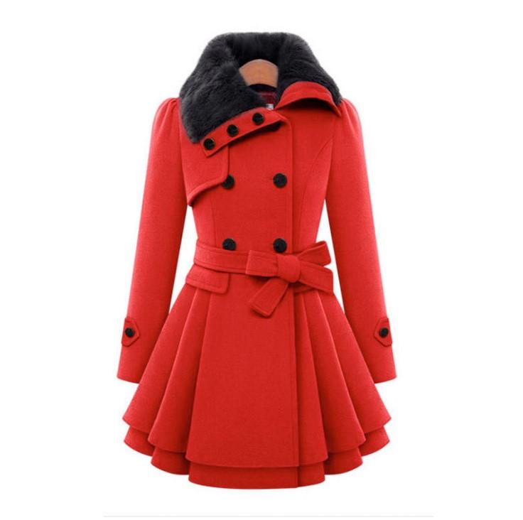 Women Slim Fit Medium Long Woolen Overcoat