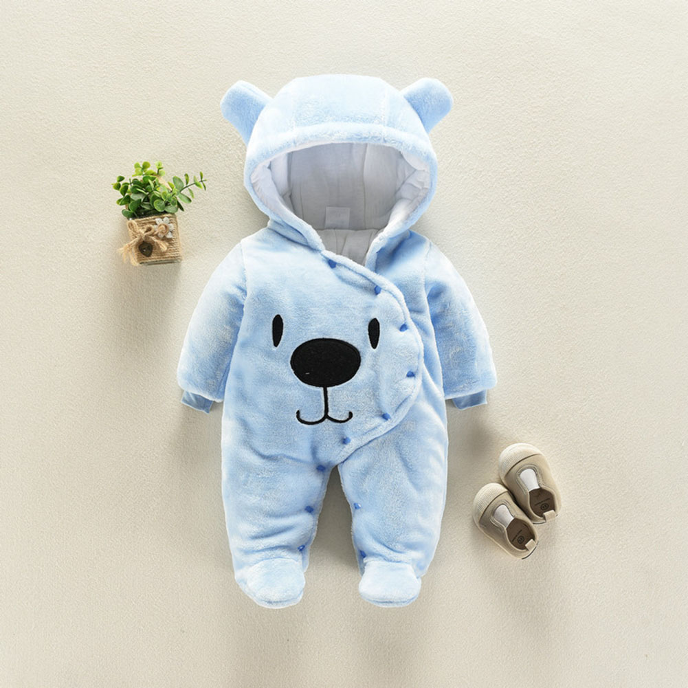 Baby Unisex Flannel Rompers - Blue 3CM