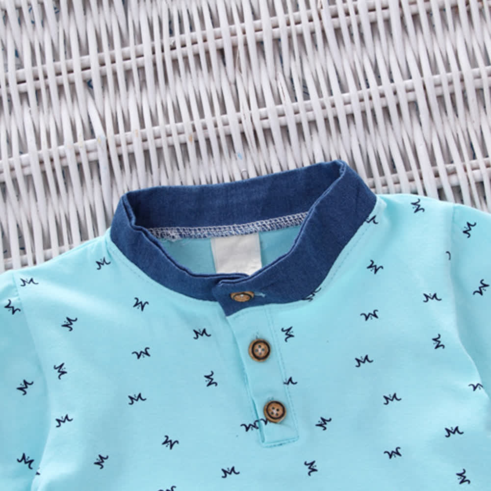 2 Pcs/Set Baby Boys Clothes Set -M blue 90/S