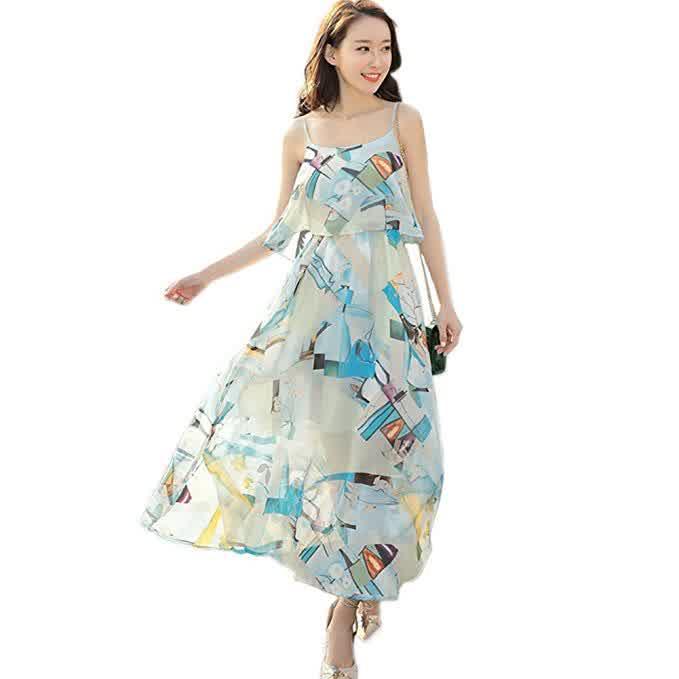 Women Bohemia Style Chiffon Sleeveless Dress