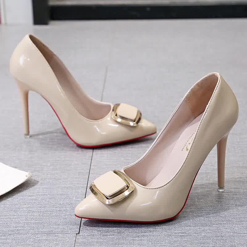 autumn stiletto high heels pointed toe shallow mouth sexy red sole female  dress fashion