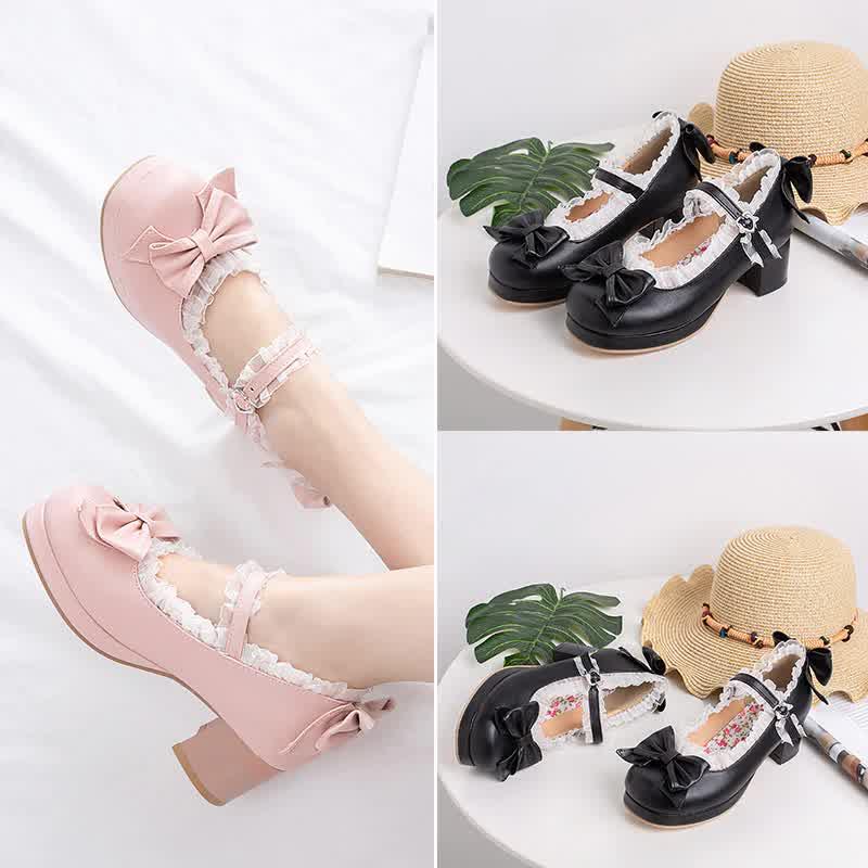 Girls Sweet Lolita Ruffles Bowknot Lace Bridal Wedding Shoes Women High Heel Bordered Princess Dress
