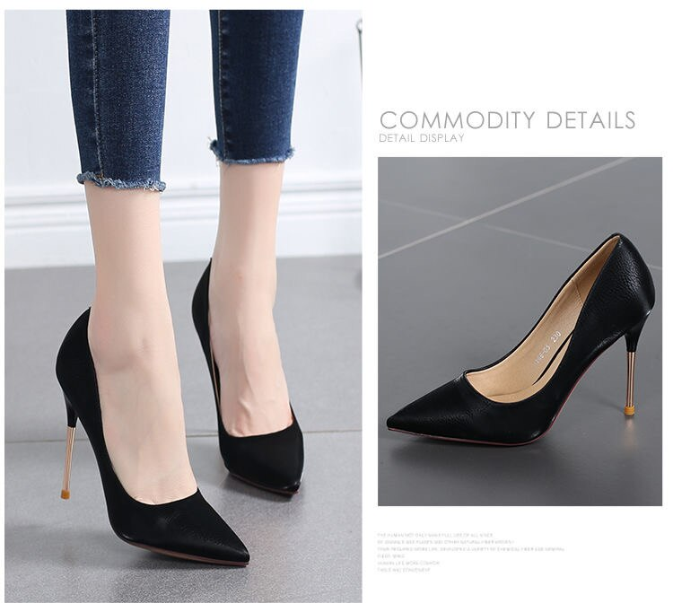Chic Stiletto Sexy Light Blue High Heels Pointed toe Court office Shoes Classic Fashion Casual Faux leather Metal Heels