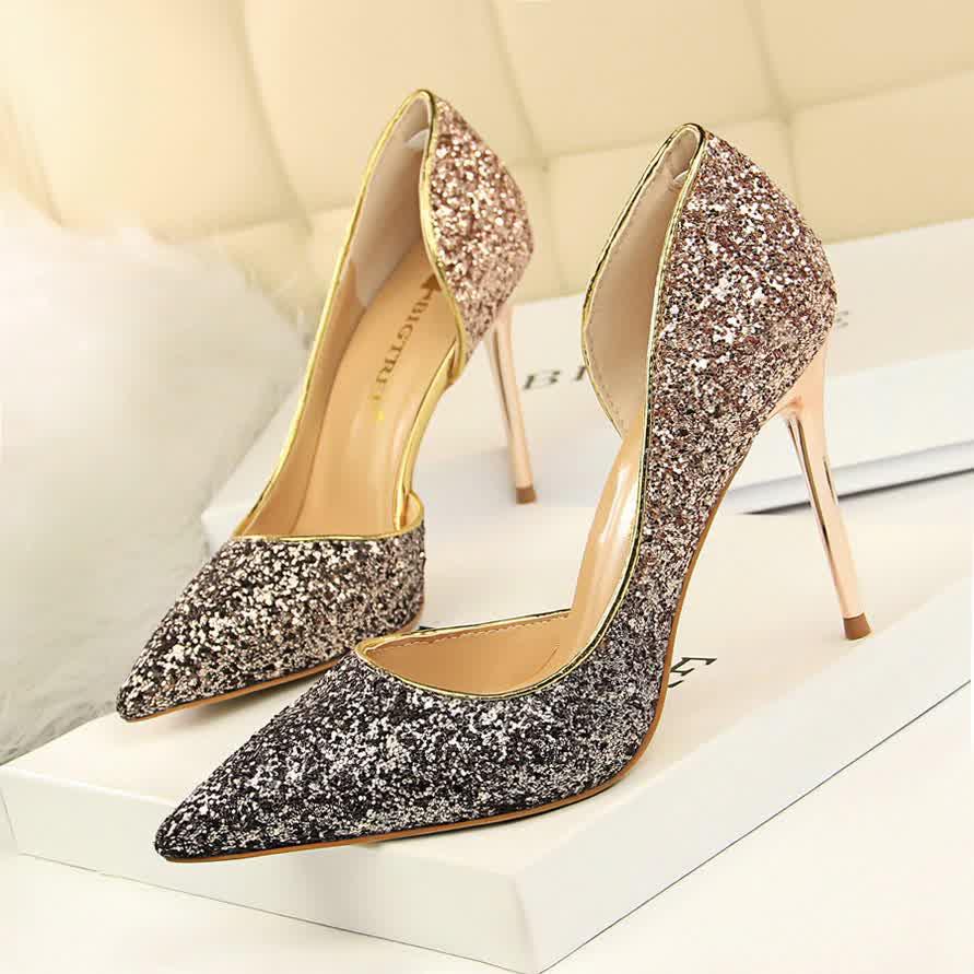 Women Pumps Bling Shoes Sexy High Heels Stiletto Gradient Women Heel Shoes Fashion